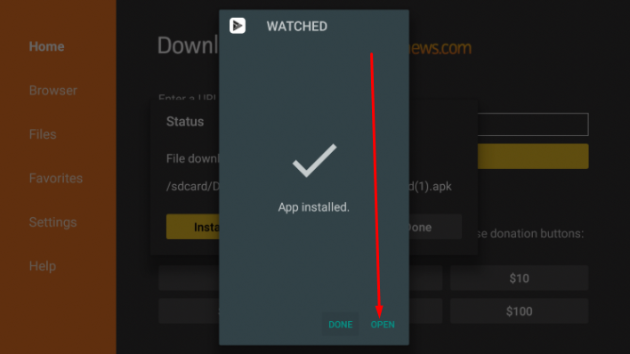 Install 'WATCHED APK' on FireStick