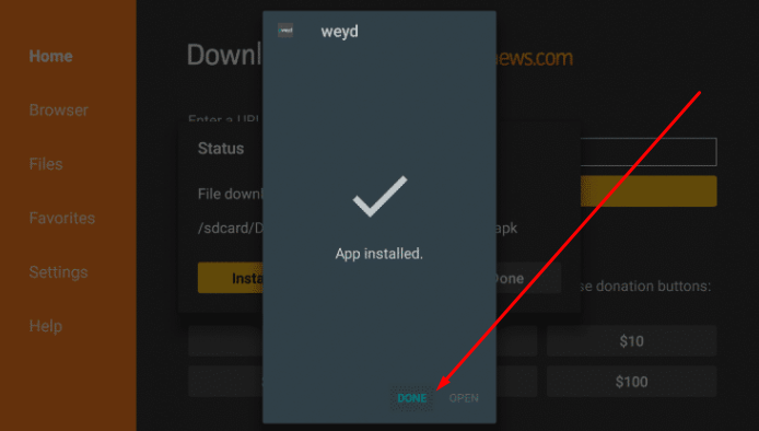 Click on Done - Weyd Mod APK