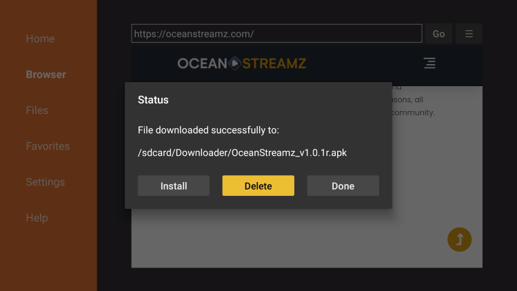 oceanstreamz delete